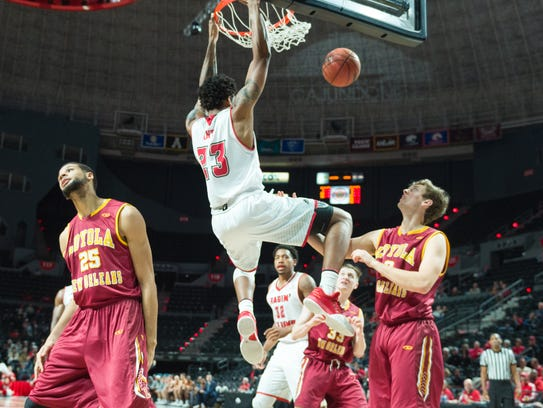 UL big man JaKeenan Gant flies high for a dunk in Wednesday's 98-56 win over Loyola of New Orleans at the Cajundome.