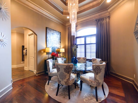 The dining area is decorated in luxurious finishes.