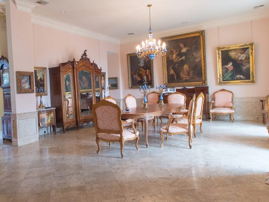 The formal dining room in the home is large enough
