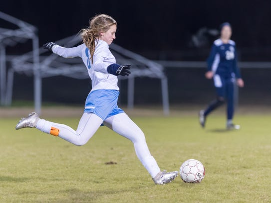 Ascension's Sydney Smith scored the game-tying goal at 1-1 during Thursday's 4-1 home win over LCA.