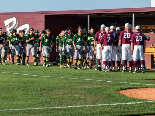 The two teams meet during a solemn pregame ceremony to honor the life of former Cecilia High player and assistant coach Shae Stelly, who died Saturday at 20 years of age with congenital muscular dystrophy.