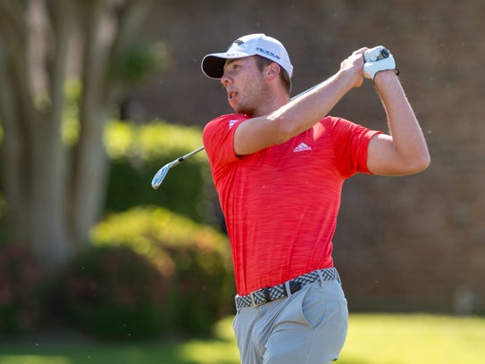 Former LSU golfer Sam Burns settles for a 2-under 69 at the Web.com Tour Chitimacha Louisiana Open at Le Triomphe.