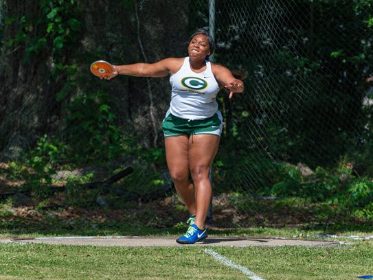 Cecilia's Schrell Chevalier wins the discus at the 5-4A district meet Thursday in St. Martinville.