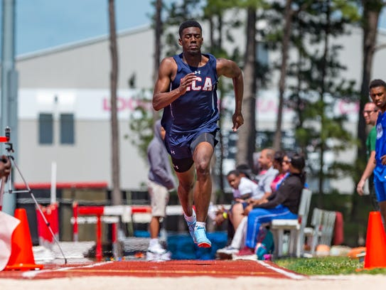 LCA's Greg WIlliams finished first in the high jump at the Class 1A, Region II track meet Tuesday at the UL Track Complex.
