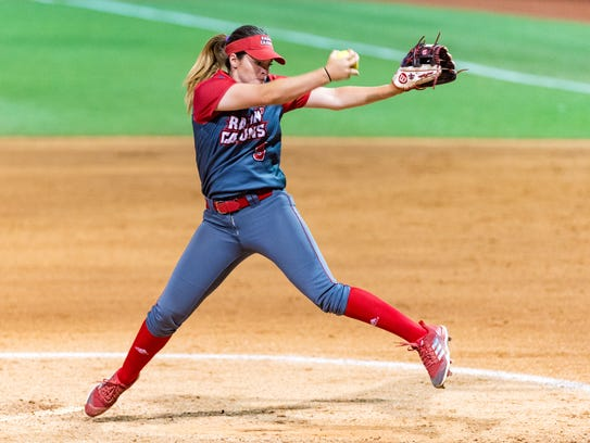 UL ace pitcher Summer Ellyson threw 13 innings in her third straight day of action Sunday.