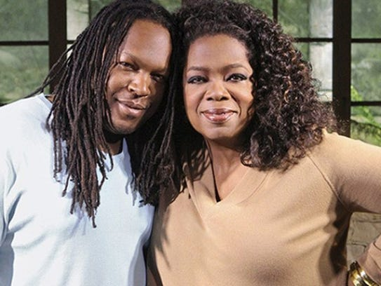 Shaka Senghor, left, and Oprah Winfrey.