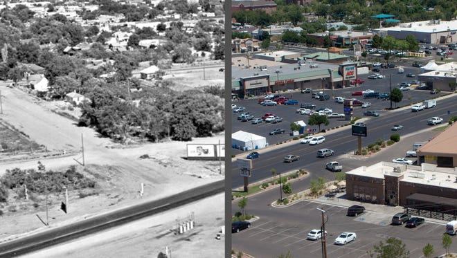 "The curve in Bluff Street as it connects with St. George Boulevard, as shown in this historic photo, is long gone. The parking lot for Hurst Ace Hardware now stands in the spot where the road once was and Kneaders stands in place of the gas station that once accompanied the curve.  The historic photo is part of the Lynne Clark Collection. Spectrum Media photographer Jud Burkett took the new photo. ""Images of Faith,"" Clark's book, is filled with historic photographs of Southern Utah. It is currently sold out, but a second printing will be available in the next few weeks at Lynne Clark Studio, Stapley's Pharmacy, Hurst Ben Franklin and George's Corner Restaurant. Check back next Thursday for the next set of photos in the Then & Now series."