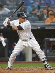 New York Yankees' Gary Sanchez bats in a baseball game
