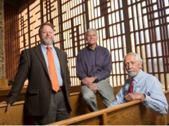 CSU's architectural team, from left, Mike Rush, Fred Haberecht and Per Hogestad, in the Danforth Chapel, one of their favorite buildings on campus. They have seen 1.5 million square feet of their designs come to life at Colorado State.