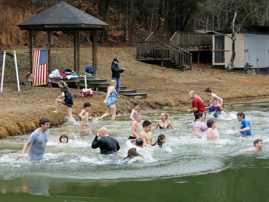 Fernvale Polar Plunge super cool New Year's Day experience at Whippoorwill Farm in Fairview Jan. 1, 2017.