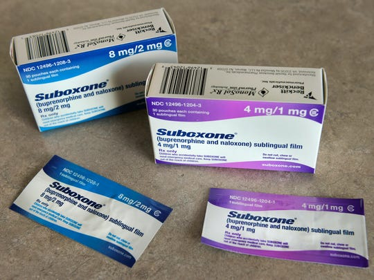 Suboxone sublingual strips sit on a table Thursday,