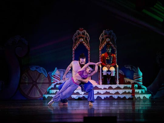 Clara and the Nutcracker Prince are entertained by a couple dancing an Arabian pas de deux.