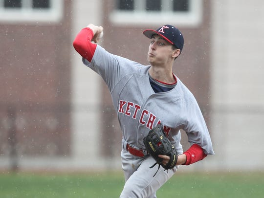 R. C. Ketcham pitcher Ryan Murphy (15) delivers a pitch during baseball action against Mamaroneck at Mamaroneck High School on Saturday, April 22, 2017.  Mamaroneck won 2-0.