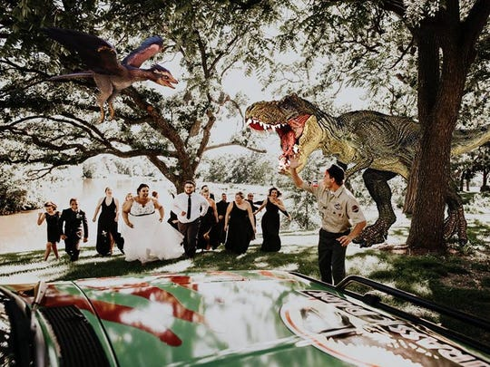 """Courtney and Billy McMillion's wedding had a """"Jurassic Park"""" theme."""