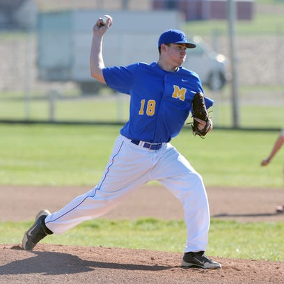Maysville's Michael Sode delivers a pitch in a game