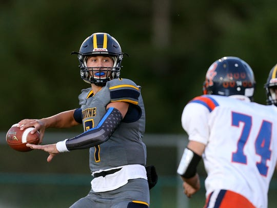 Wayne quarterback Braeden Zenelovic stands in the pocket