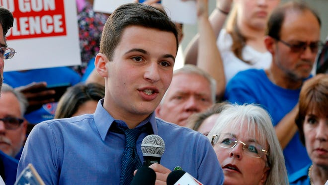 Marjory Stoneman Douglas High School student Cameron Kasky speaks at a rally for gun control at the Broward County Federal Courthouse in Fort Lauderdale, Florida on February 17, 2018.