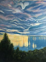 """""""Extravagant Sky"""" by Jeanne Kuhns, whose Lost Moth Gallery is a site on the """"Women Walking on Water"""" art crawl in Egg Harbor."""