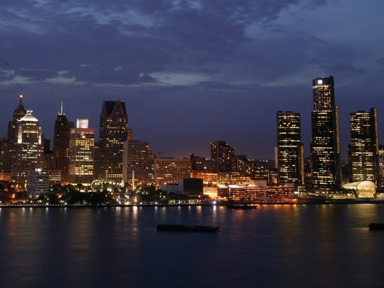 The Detroit skyline in 2004. The photograph was taken