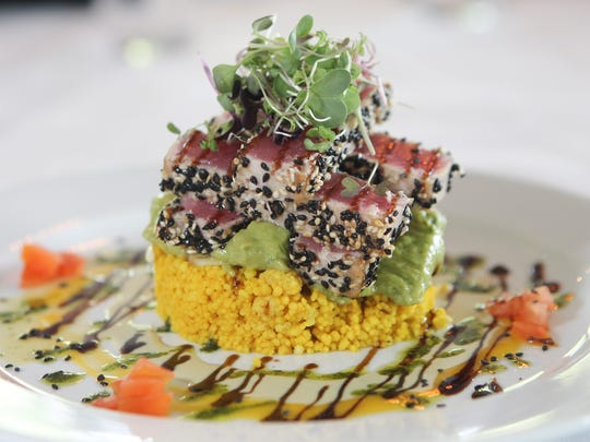 Seared Ahi Tuna over guacamole and Couscous at Catch