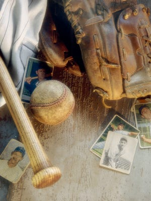 Old baseball equipment file photo