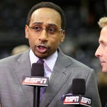 Jun 15, 2014; San Antonio, TX, USA; ESPN analyst Stephen A. Smith before game five of the 2014 NBA Finals between the San Antonio Spurs and the Miami Heat at AT&T Center. Mandatory Credit: Soobum Im-USA TODAY Sports ORG XMIT: USATSI-181090 ORIG FILE ID:  20140615_pjc_ai1_029.JPG