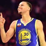 Feb 14, 2015; New York, NY, USA; Golden State Warriors guard Stephen Curry (30) celebrates during the 2015 NBA All Star Three Point Contest competition at Barclays Center. Mandatory Credit: Bob Donnan-USA TODAY Sports