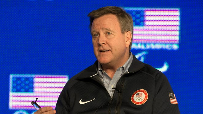 USOC chief executive officer Scott Blackmun addresses the media during the USOC leadership press conference at Canyons Grand Summit Hotel.