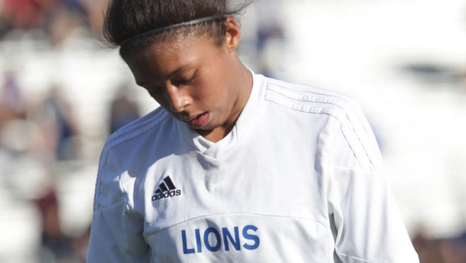 Azalea Guanajuato, of Cathedral City High School feels dejected after having missed a penalty kick which would have given her team the tie in the first half. Cathedral City lost 3-1 at home thus ending their CIF run for the year. (Feb. 25, 2016)