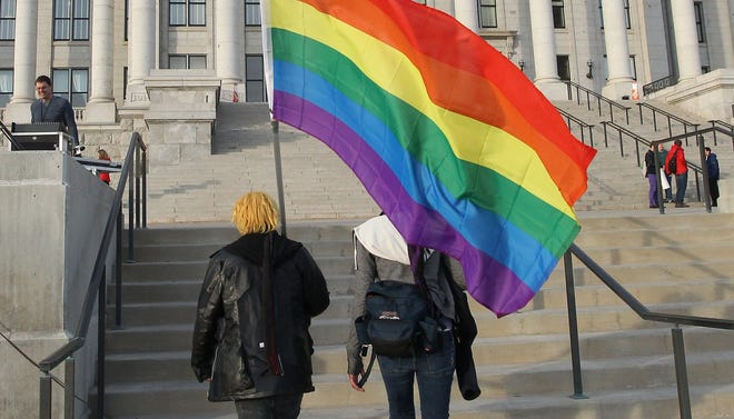 Supporters of same-sex marriage arrive at the Utah Capitol for a rally in January.