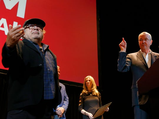 NJ Governor Phil Murphy honored actor and Asbury Park native Danny DeVito with the Paramount Award at the Asbury Park Music + Film Festival at the Paramount Theater in Asbury Park Saturday, April 28, 2108.
