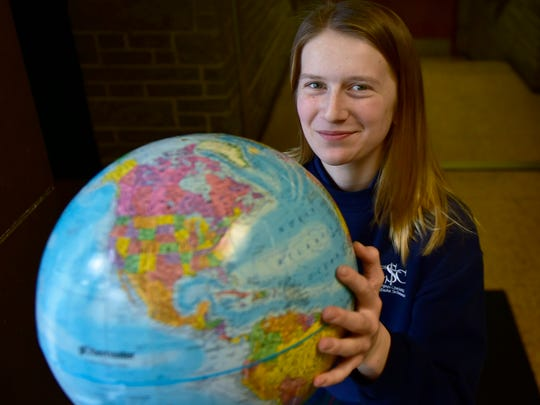 Rylee Strayer, photographed Wednesday, Jan. 11. 2017, is a Corpus Christi School student who won the school's portion of the 2016-17 National Geography Bee and hopes to qualify for the state round.