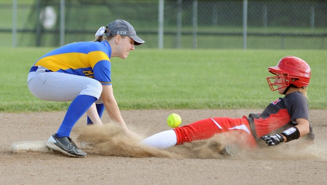 Sheridan's Maddy Trowbridge slides safely into second base through Maysville's Kori Sidwell during the Panthers 2-0 win over the Generals on Friday in Thornville.