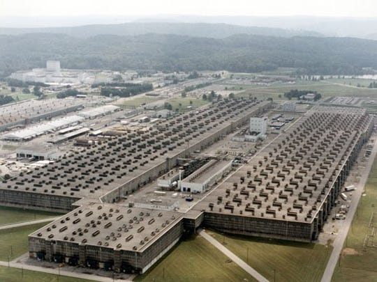 This undated file photo provided by the U.S. Department of Energy shows the massive K-25 building, where uranium was enriched for the World War II-era Manhattan Project in Oak Ridge, Tenn. The U-shaped building was the largest in the world at the time it was built in the 1940s.