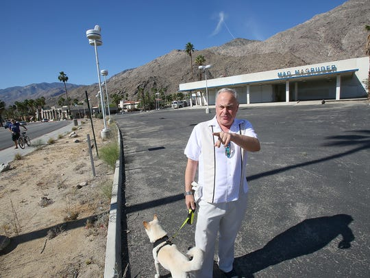 Jonathan Freeman explains why he believes the shuttered Mac Magruder dealership on Mesquite and Palm Canyon Drive is problematic for his Palm Springs neighborhood on Friday, April 3.