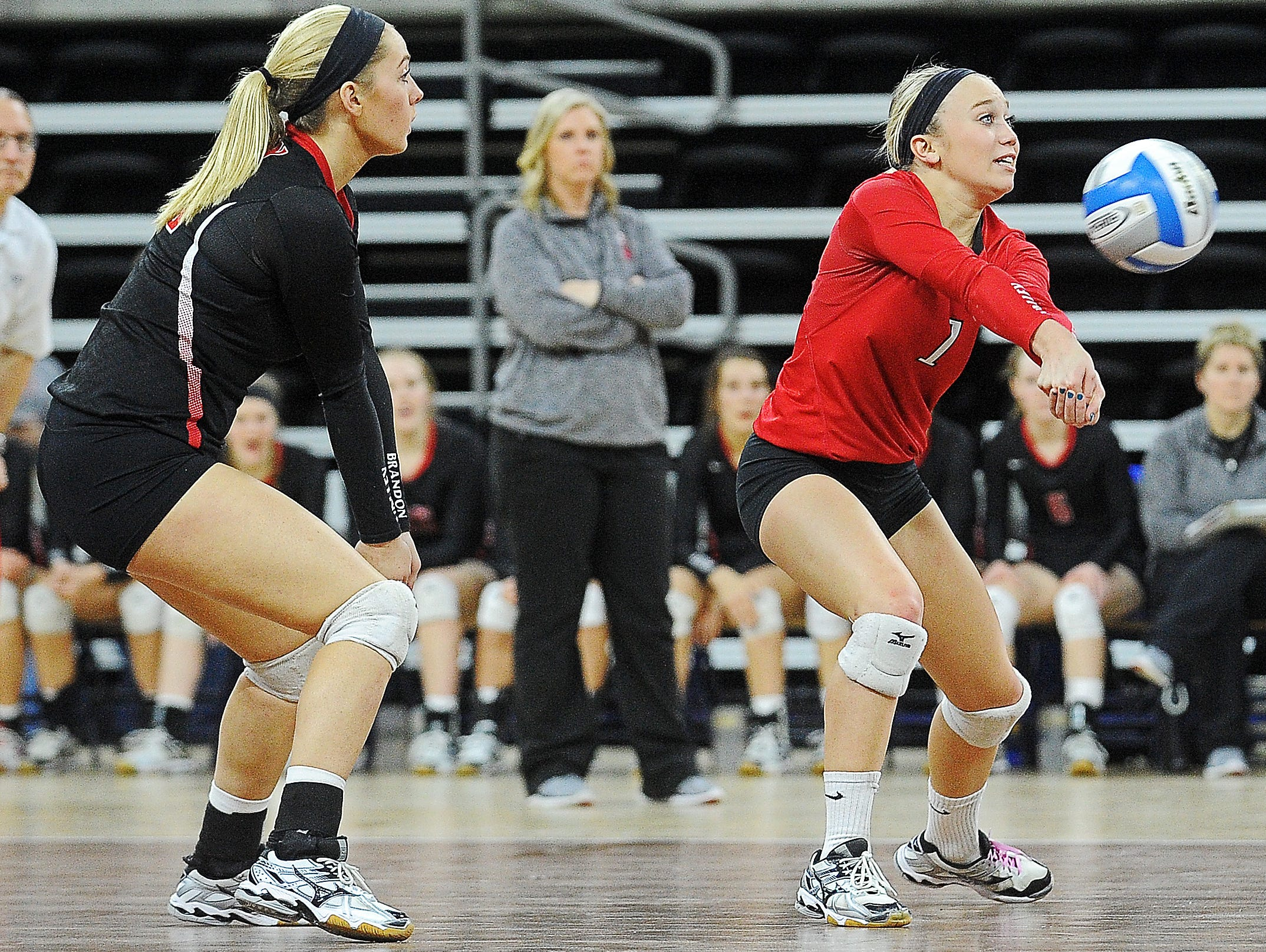 Brandon Valley's Taylor Thorson (1) bumps the ball during the South Dakota State High School Class AA championship volleyball match against Aberdeen Central Saturday, Nov. 21, 2015, at the Denny Sanford Premier Center in Sioux Falls.
