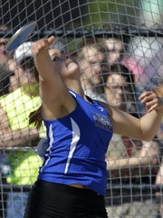 Athens senior:Savannah Janke competes during the Division 3 discus during the WIAA state meet Saturday. Janke finished third in the event.
