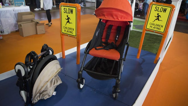 The Yoyo+ stroller by Babyzen is on display during the New York Baby Show in New York.