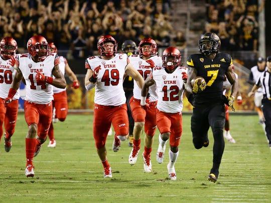 Arizona State running back Kalen Ballage runs 71-yards against Utah in the 1st quarter during PAC-12 action on Thursday, Nov. 10, 2016 in Tempe, Ariz.