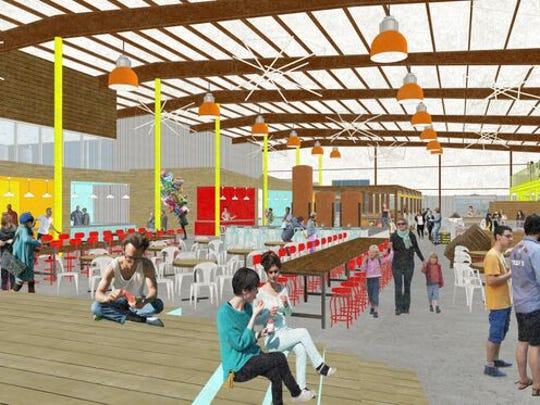 Rendering of a proposed indoor market at the intersection