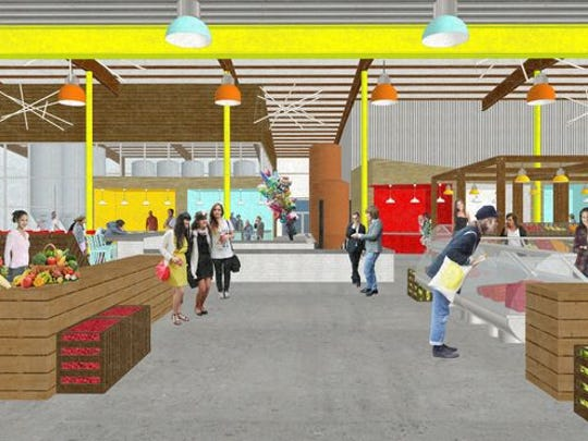Rendering of a proposed indoor market at the intersection of Logan and Kentucky streets, designed by Foxworth Architecture.