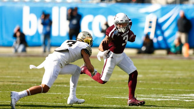 Texas A&M Aggies wide receiver Christian Kirk (3) had himself quite a bowl game against Wake Forest.