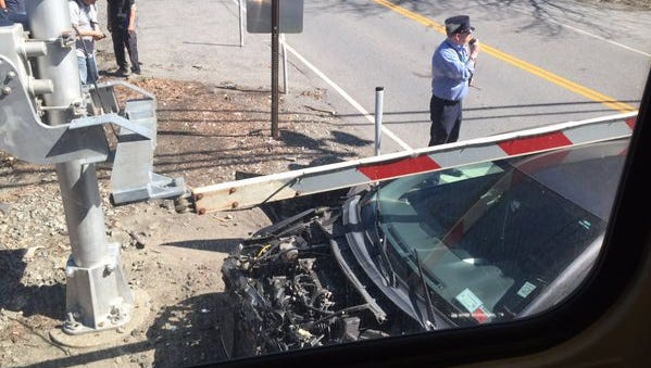 A view from inside a Metro-North train shows the extent of the impact after it struck a car at the Green Lane crossing in Bedford Hills Wednesday afternoon.