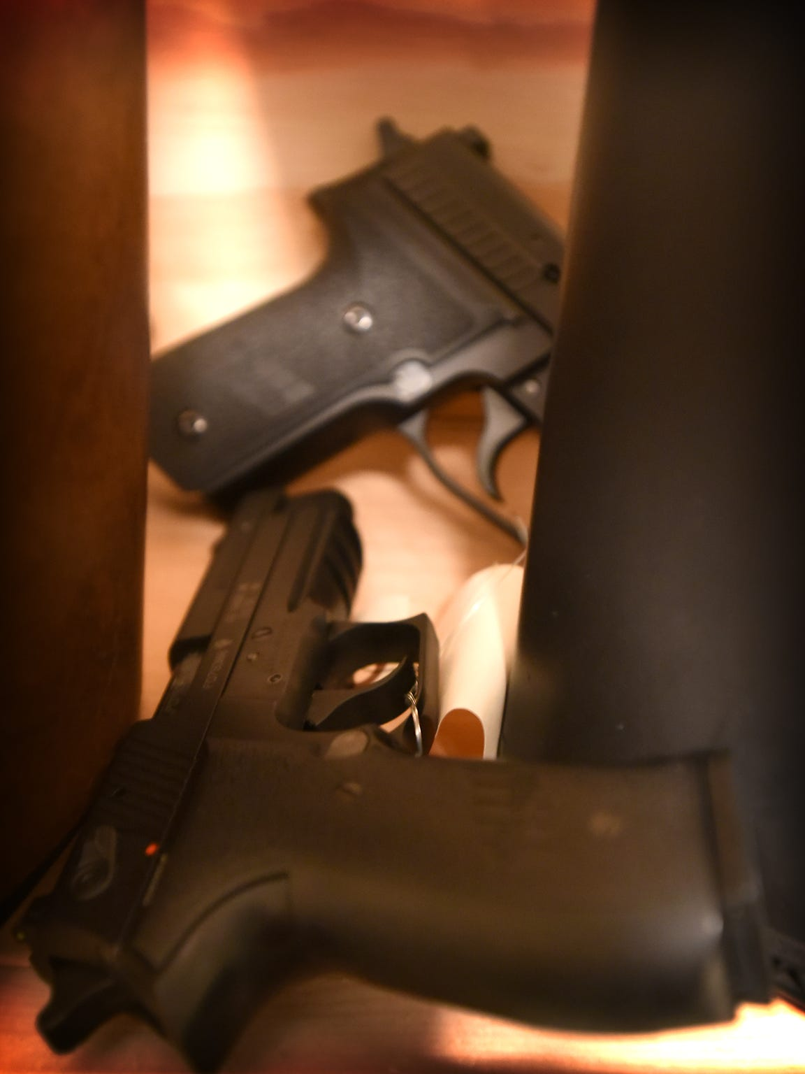 The Lebanon County Sheriff's Office confiscated these firearms from seven defendants who were served a Protection From Abuse order, and stores them in the courthouse. The defendants can only get the firearms back if the PFA expires and they have no other criminal conviction forbidding them from owning the weapons.