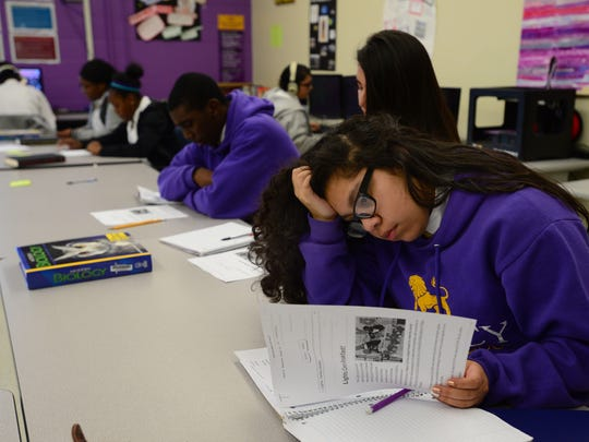 Yulissa Lopez brainstorms for an assignment given to her Legacy Early College High School journalism class in a file photo.