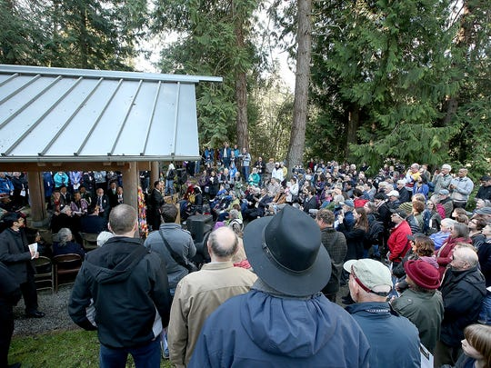 The crowd listens as Clarence Moriwaki, president of BIJAC, begins the ceremony Thursday at the Bainbridge Island Japanese American Exclusion Memorial.