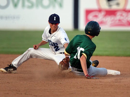 Montgomery's Joseph  Leonardis (10) slides in safe at second base underthe tag of Immaculata's Ryan Kabus during the Somerset County Tournament final on Friday, May 25, 2018 at TD Bank Ballpark in Bridgewater.