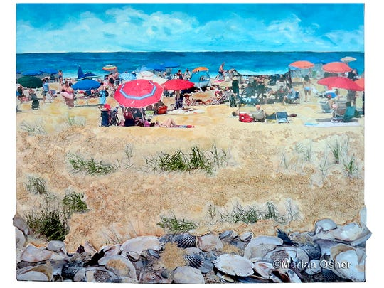 """""""Diversity"""" by Marian Osher is a mixed media painting with photo collage of people and shells on Rehoboth Beach."""