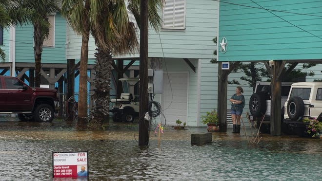 A flooded streets in Rockport, Texas, as Tropical Storm Beta approaches on Monday, Sept. 21, 2020.