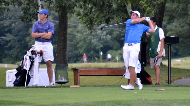 Cameron Young tees off during U.S. Amateur qualifier at the Tuxedo Club earlier this summer.
